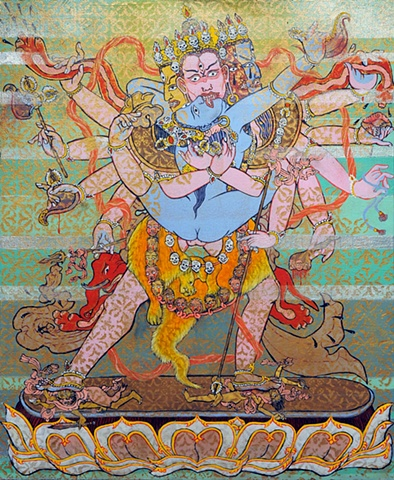 BLISSFUL UNION - Cakrasanvara, a 12 armed yiddam deity thangka by brian batista