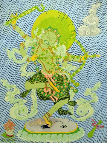 APRIL SHOWERS - KURUKULLA tibetan Thangka by Brian Batista