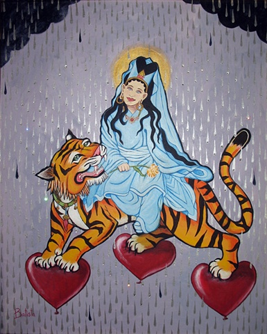 Guan Yin tames the tiger's heart