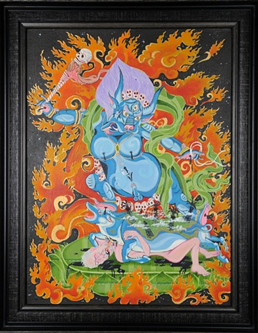 IGNORANCE IS BLISS (framed) YAMA DEITY tibetan THANGKA by Brian BAtista