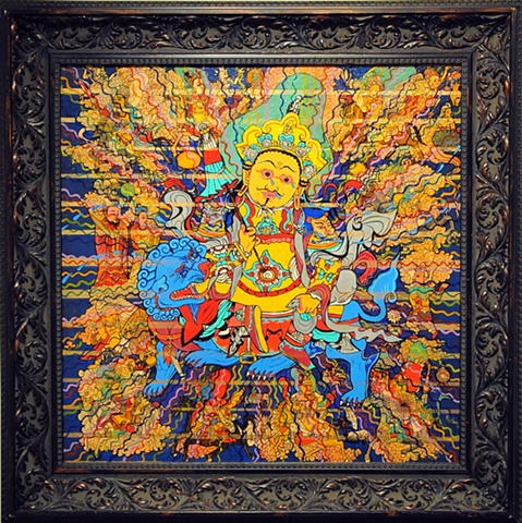 KING FOR A DAY, FOOL FOR A LIFETIME, FRAMED Dharmapala Thangka
