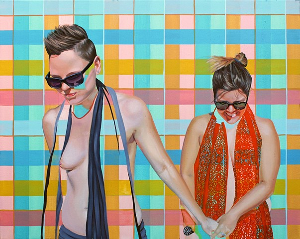 Painting of a nude lesbian couple with a geometric plaid pattern.