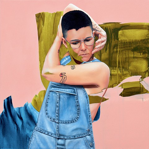 Mexican woman with shaved head wearing glasses and overalls. Realistic oil painting mixed with subtract in green, blue and pink.
