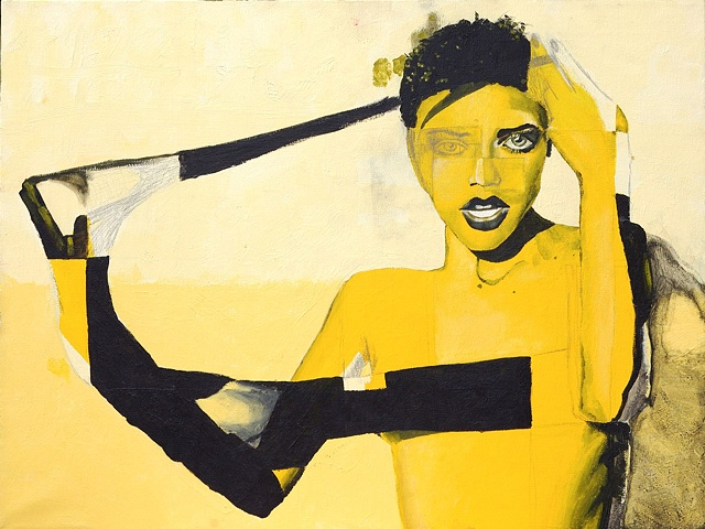 Monochromatic yellow painting of lesbian woman.