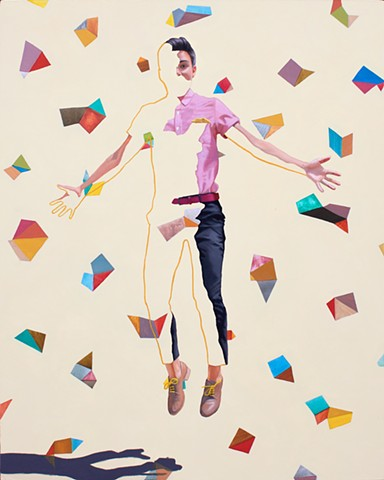 Portrait of an androgynous lesbian woman with a geometric colorful pattern.