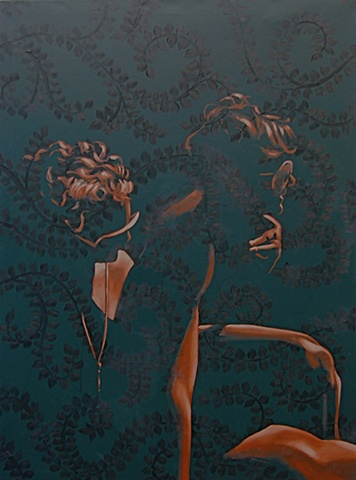 Painting of two women with a dark green floral vine pattern and silhouette.