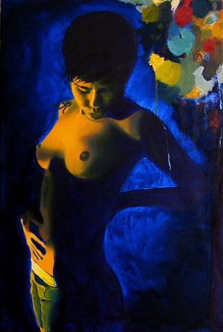 Painting of a nude lesbian woman with a blue abstract pattern.