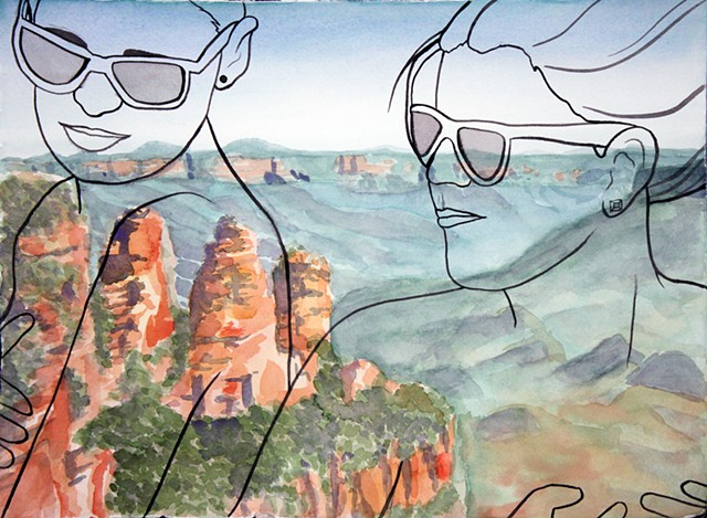 Blue Mountains Sydney landscape with illustration of nude lesbian couple.