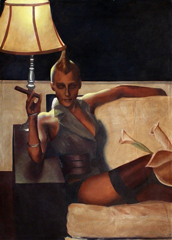 Painting of a reclining lesbian woman with a mohawk and cigar.
