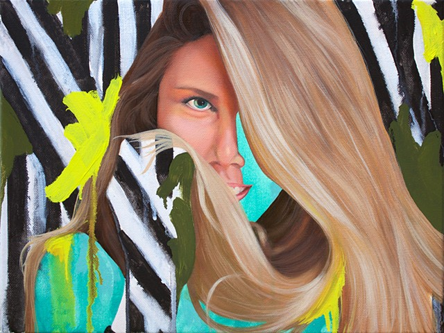 Portrait of photographer Juliet Taylor with a background of black and white stripes and green abstract strokes.