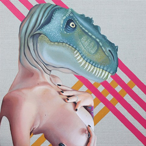 Painting of a tyrannosaurus rex dinosaur head on a nude woman.