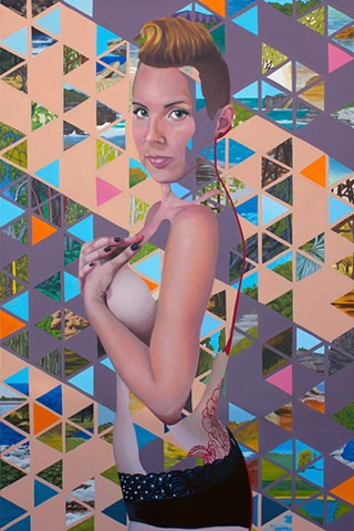 Painting of a nude woman with a geometric pattern made of small Australian landscapes.