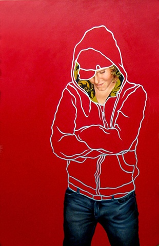 Large painting of a lesbian woman wearing a sweatshirt and jeans with a red background.
