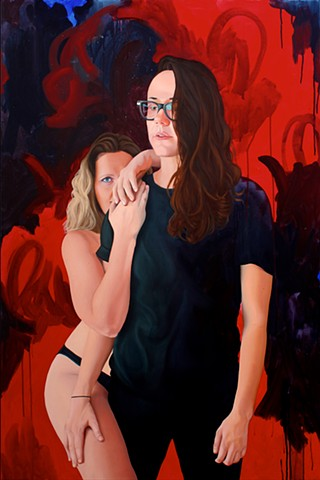 Portrait of a lesbian couple painted over bright, layered abstraction in black, blue and red.
