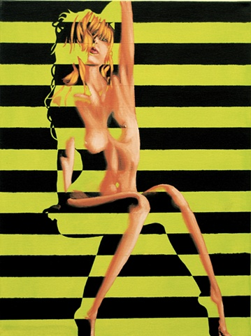 Painting of a nude woman with a geometric pattern of yellow and black stripes.