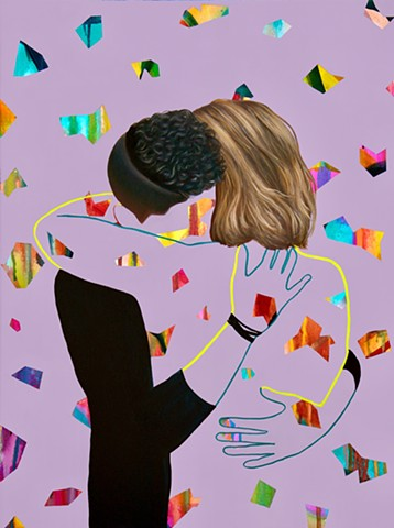 Two androgynous figures embracing among a multi-colours abstract pattern to capture the spirit of the times as Australia make marriage equality law.