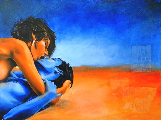 Blue and Orange painting of nude lesbian couple kissing in the desert.