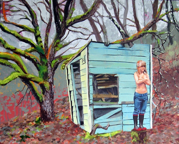 Landscape painting of lesbian in front of a shack in the forest of Northern California.