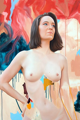 Nude painted portrait of queer activist Sally Rugg amidst abstract strokes of nude, purple, blue, gold and salmon.