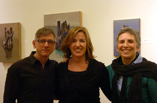 "Richard Deutsch, Laura Moore, Susan Kraut at the ""Light, Reflection, Subject"" opening on March 13th.  Photograph by Allen Rich."