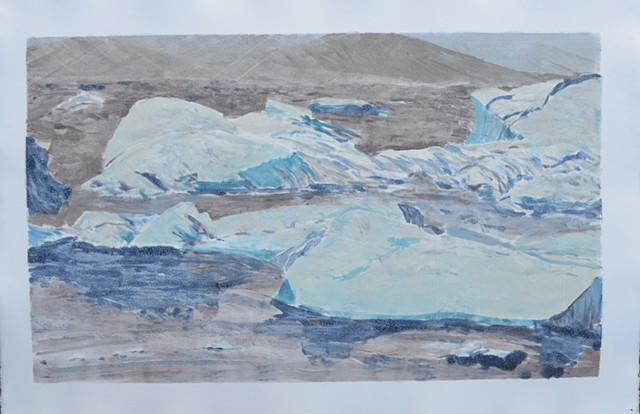 mono print on paper of Icelandic imagery imagery