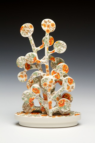 Porcelain tree sculpture with vintage decals