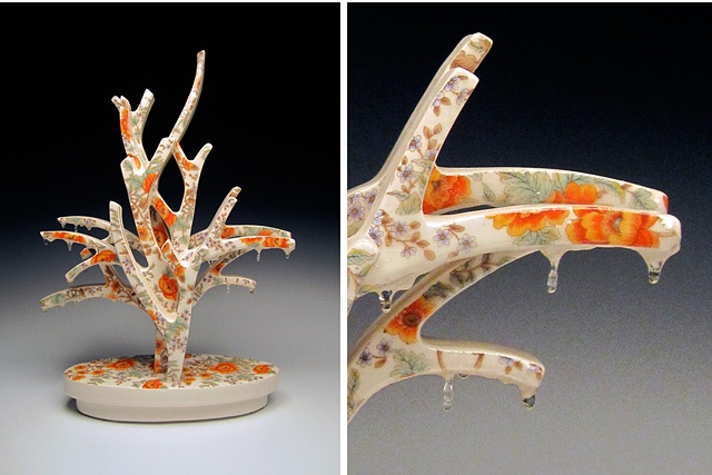 Porcelain tree sculpture with vintage decals and resin