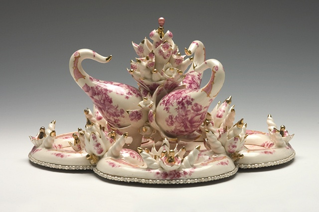 Slip cast porcelain sculpture with vintage decals, lusters and glass and pearls