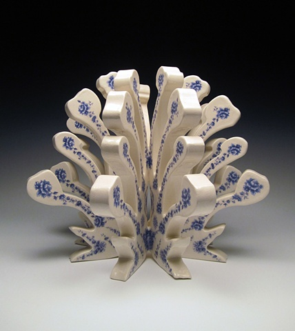 Porcelain sculpture with vintage decals