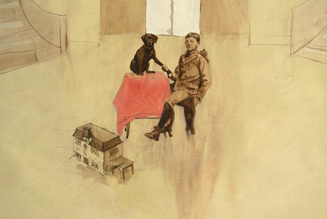 victoriana, dog, dogs, works on paper, kyla zoe rafert, artwork, pets
