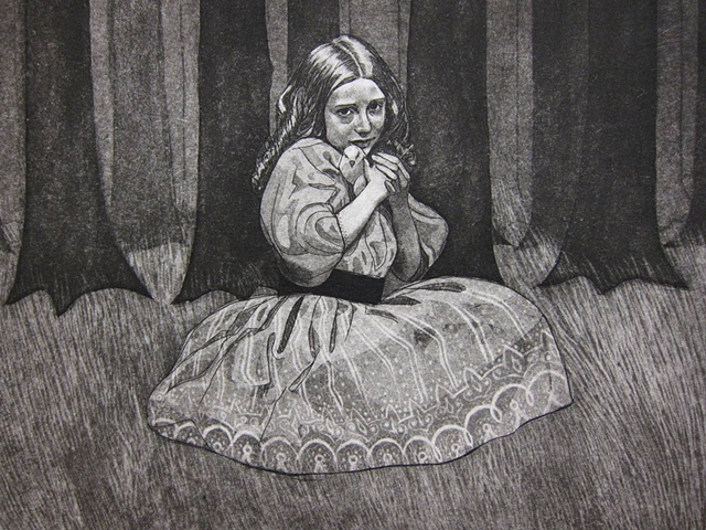 etching, fairy tale, art on paper, fantasy, victorian