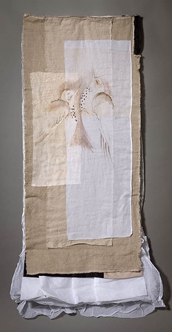 Gouache on cotton organdy, hand stitched, linen, bustle