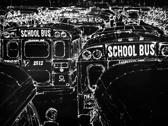 School Bus - B&W